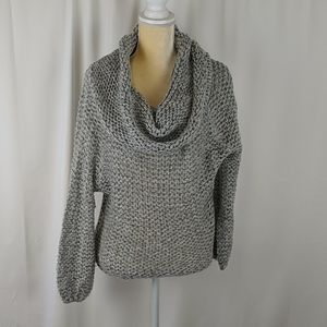 Debut chunky cowl grey cable knit sweater